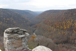 Lindy Point overlook downstream from Blackwater Falls in Blackwater Falls State Park, West Virginia