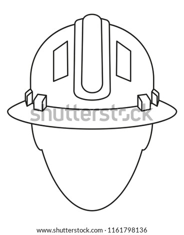 Line art black and white construction worker avatar. Human head in protective helmet. Work safety themed illustration for icon, sticker, patch, label, badge, certificate or flayer decoration