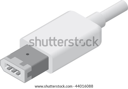 line art illustration of a  6-Pin Firewire 400 plug/cable in isometric view