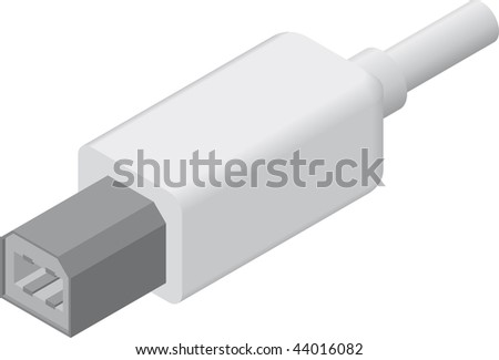 line art illustration of a USB B plug/cable in isometric view
