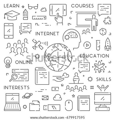 Line banner for online education. Linear web concept for online university.