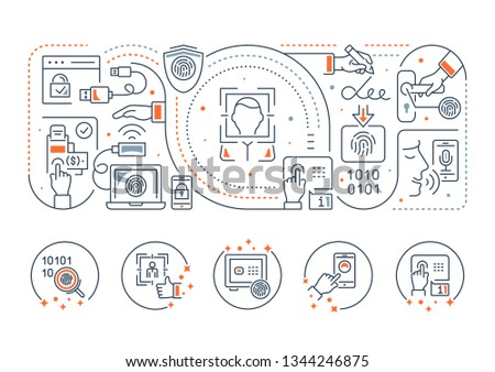 Line banner of biometrics. Illustration of the biometric technology.