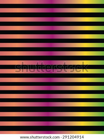 Line design in metallic color gradients\ \ Lines pattern design in metallic green color gradients from shades of orange, fuchsia, yellow and, on black background.