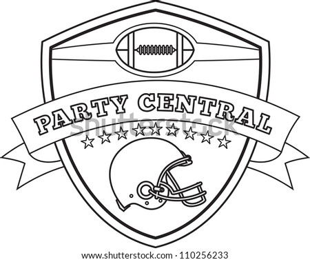 Line drawing illustration of an american football helmet set inside shield with stars and scroll viewed from the side done in black and white and words party central.