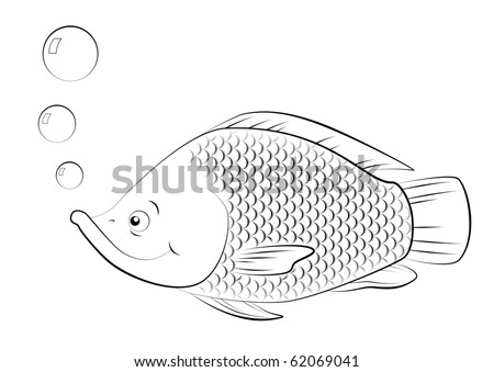 Fishes line drawing for Flying fish addison