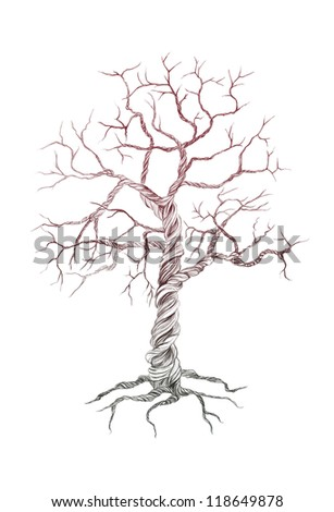 Line drawing of tree without leaves