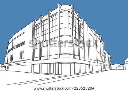 Line drawing with digital coloring of a  retail store, Leeds, West Yorkshire, England, UK