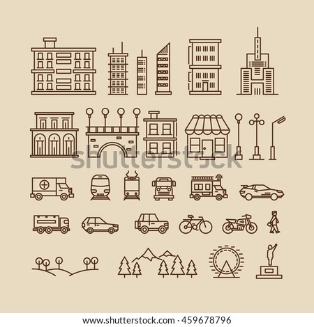 Line elements of city. Buildings and houses, trees and transport icons