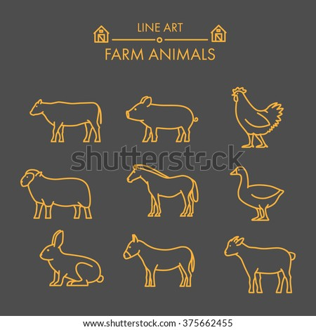Line farm animals icon set. Linear figure cow, pig, chicken, horse, rabbit, goat, donkey and sheep