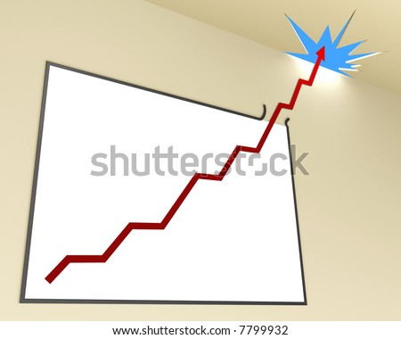 Line Graph (Angle 2 - Horizontal). The line graph leaves the whiteboard, passing the ceiling toward the sky. Concept of business and finances in growth.