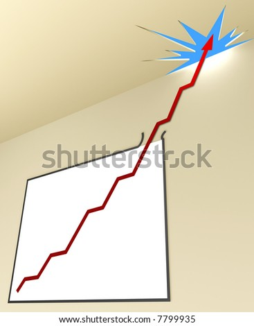 Line Graph (Angle 1 - Vertical). The line graph leaves the whiteboard, passing the ceiling toward the sky. Concept of business and finances in growth.