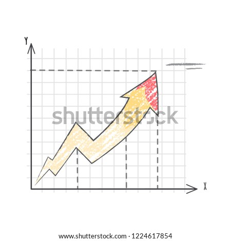 Line graph representing dramatic increase.  illustration with statistics represented by line chart with grid between axises on white background