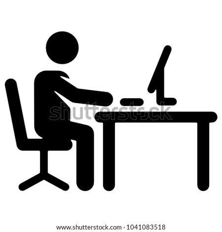 line icon black and white someone sitting at the desk