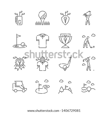 Line Icon Set. Golf Related Linear Icons. Country Club Symbols, Pictograms, Signs.