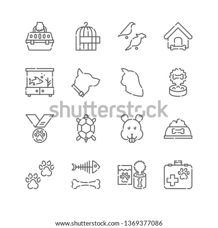 Line Icon Set. Pets Related Linear Icons. Pet Supplies Symbols, Pictograms, Signs.