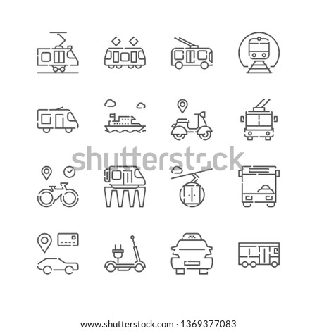 Line Icon Set. Public Transport Linear Icons. City Vehicles Related Symbols, Pictograms, Signs.