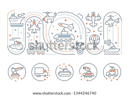 Line illustration of military technics. Concept for web banners and printed materials. Template with buttons for website banner and landing page.