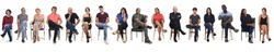 line of a front view of a group of people wiith legs crossed on white background