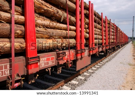 Line of biomass train wagons on a railroad