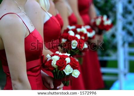 Line of bridesmaids' bouquets