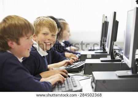 Line Of Children In School Computer Class