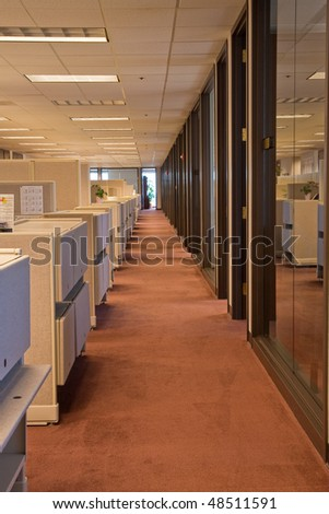 Line of cubicles and glass wall in office