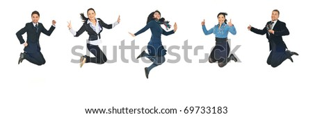 Line of five successful business people jumping  isolated  on white background