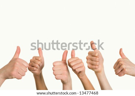 Line of group of human fists giving thumb up
