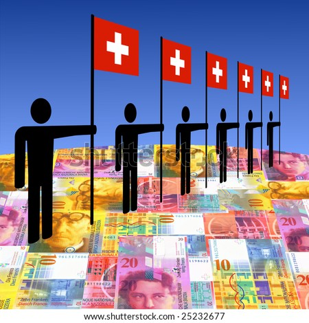 line of men holding Swiss flags on currency illustration