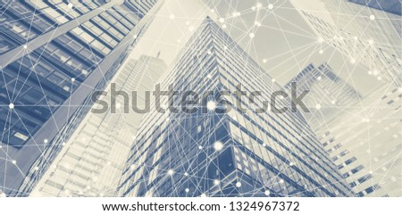 Line of network connection with cityscape in background. Smart city community connection concept. Freedom connect to the world by hi-technology. Easy life style connecting people. #1324967372