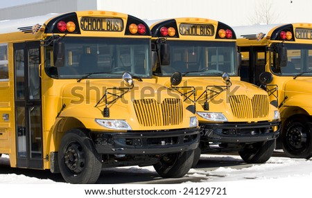 Line of New School Buses