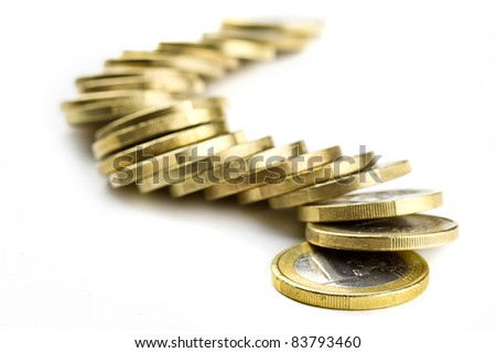 Line of one euro coins over white