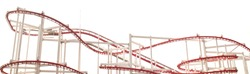 Line of red roller coaster rail on white background.