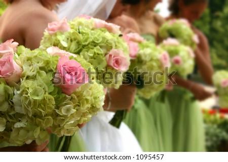 Line of wedding flowers