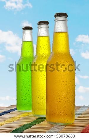Line of wet glass beverages