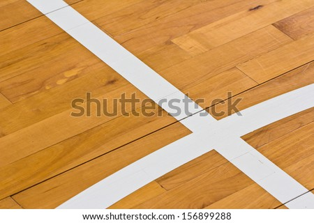 Line On Wooden Floor Basketball Court