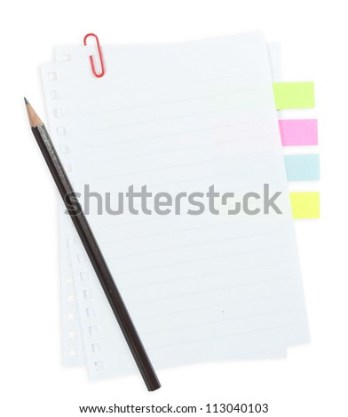 line paper with paper clip and tag isolated on white background - stock photo