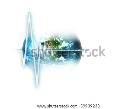 line pulse on the background of the planet  isolated on white