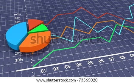 Linear and pie bar chart with blue background