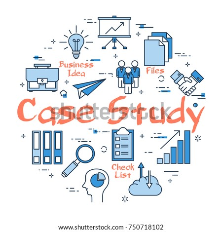 Linear blue round concept of Case Study. Data comparison and Research Method with business outline icons
