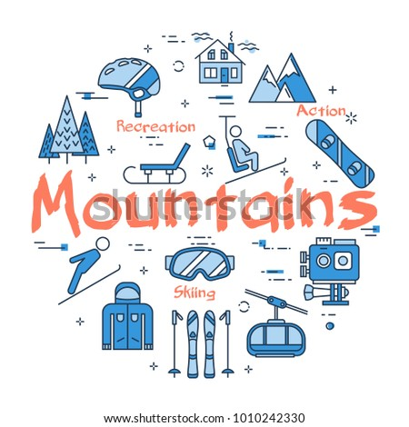 Linear blue round concept of Mountains. Line icons of winter outdoor recreation, skiing, ski lifts and entertainment on vacation