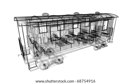 linear 3d model od old wagon isolated on white