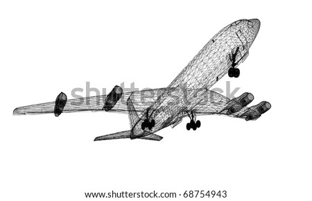 linear 3d model of airplane  isolated on white
