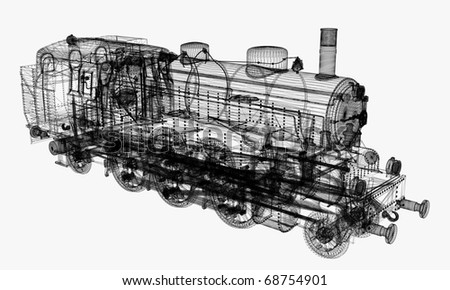 linear 3d model of locomotive isolated on white background