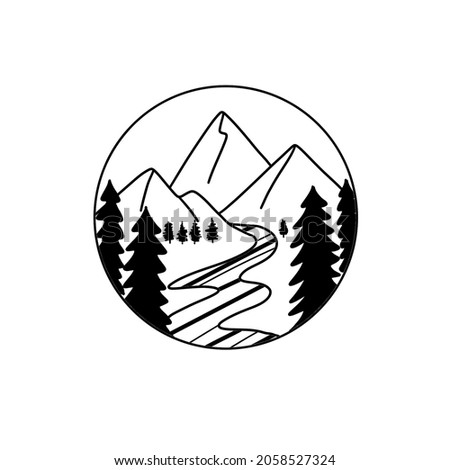 Linear drawing of a black mountain, forest, river in a circle.  Drawing for a tattoo, sketch.  Travel, landscapes, beautiful view.  Wildlife, Alps.