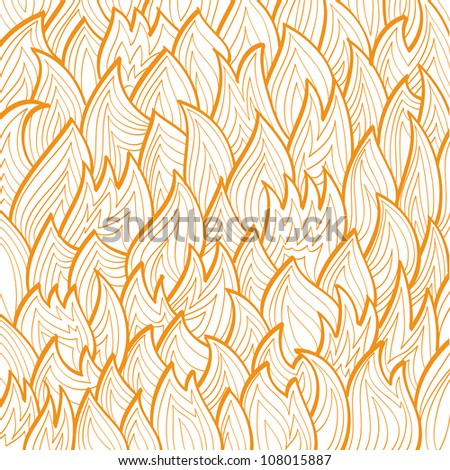 Linear drawing of the orange fire pattern over white background. Raster version of the vector image