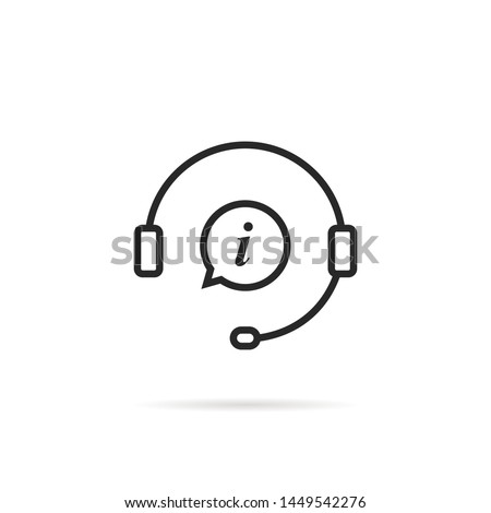 linear information support icon isolated on white background. concept of consultant for ecommerce or elearning. flat contour style trend modern 24 7 hotline or crm logotype graphic art design