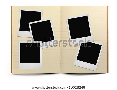 lined exercise book and photo frames, visible natural shadow in front