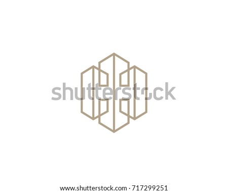 Lined letter H house logotype. Premium home building icon logo.