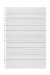 Lined paper isolated on white background
